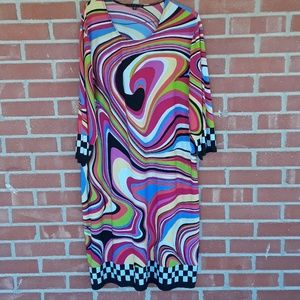 Retro 60s mod Tiana B plus size 2x dress swirled J